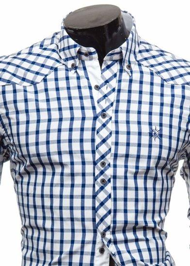Koszula męska elegancka w kratę z długim rękawem granatowa Bolf 5812