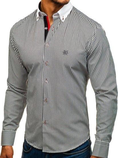 Koszula męska elegancka w paski z długim rękawem biało-czarna Bolf 5759