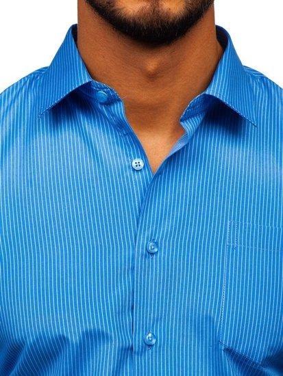 Koszula męska elegancka w paski z długim rękawem błękitna Denley NDT10