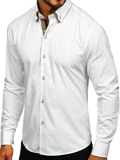 Koszula męska elegancka z długim rękawem biała Bolf 4708