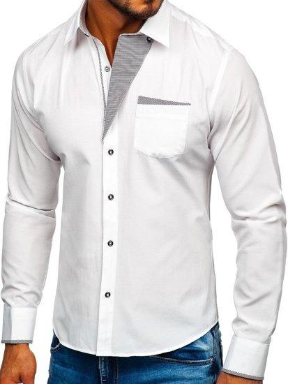 Koszula męska elegancka z długim rękawem biała Bolf 4713