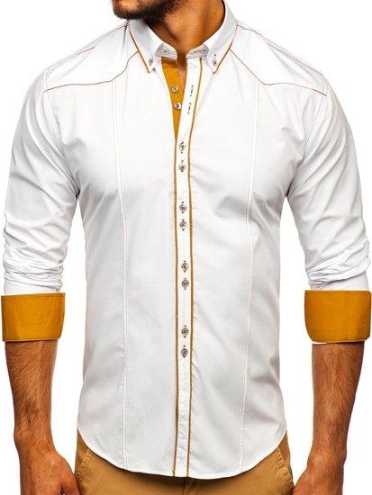 Koszula męska elegancka z długim rękawem biała Bolf 4777
