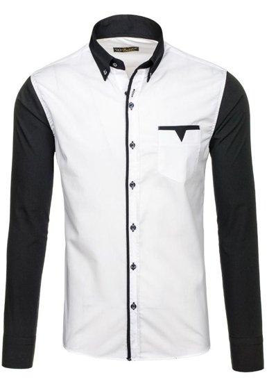 Koszula męska elegancka z długim rękawem biała Bolf 5726