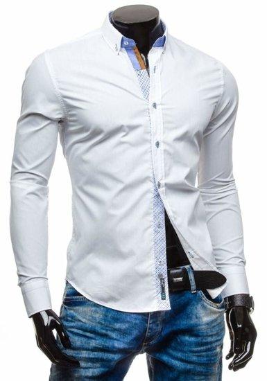 Koszula męska elegancka z długim rękawem biała Bolf 5777