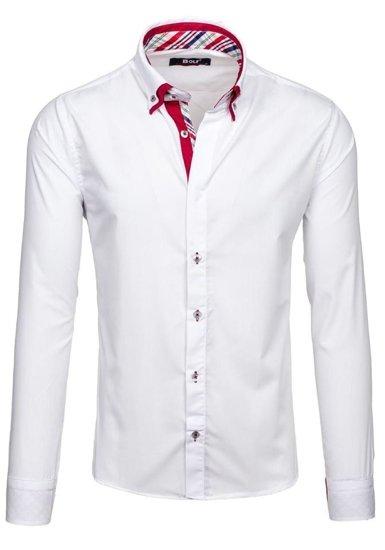 Koszula męska elegancka z długim rękawem biała Bolf 6895