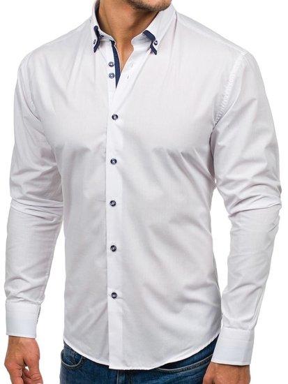 Koszula męska elegancka z długim rękawem biała Bolf 6898-1