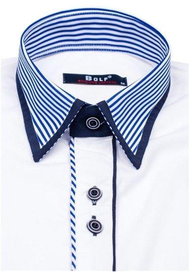 Koszula męska elegancka z długim rękawem biała Bolf 6935