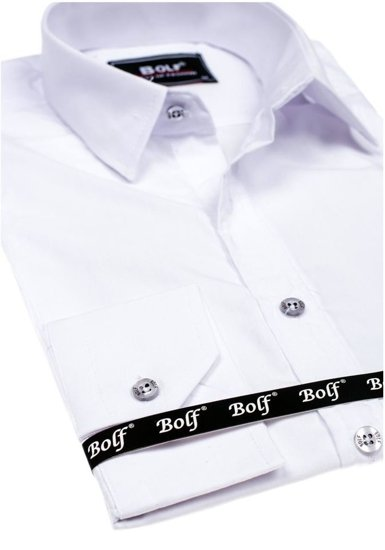 Koszula męska elegancka z długim rękawem biała Bolf 6944