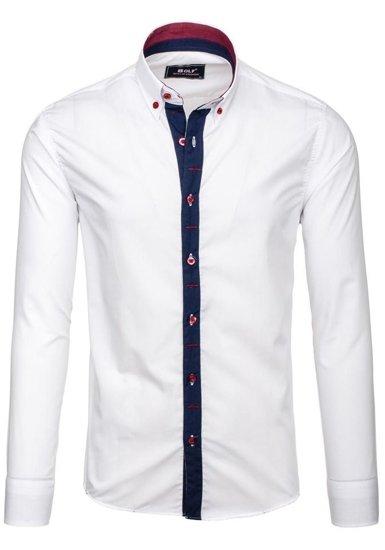 Koszula męska elegancka z długim rękawem biała Bolf 6951