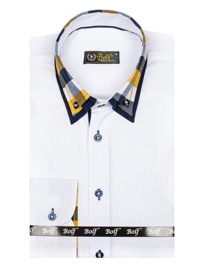Koszula męska elegancka z długim rękawem biała Bolf 6966
