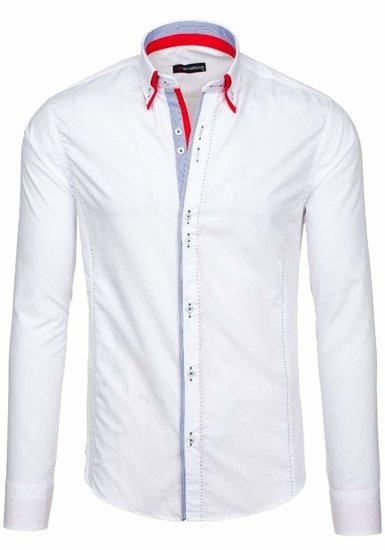 Koszula męska elegancka z długim rękawem biała Denley 6859