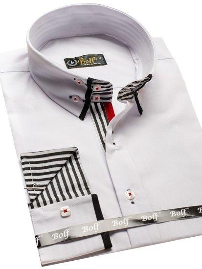 Koszula męska elegancka z długim rękawem biało-czarna Bolf 1747