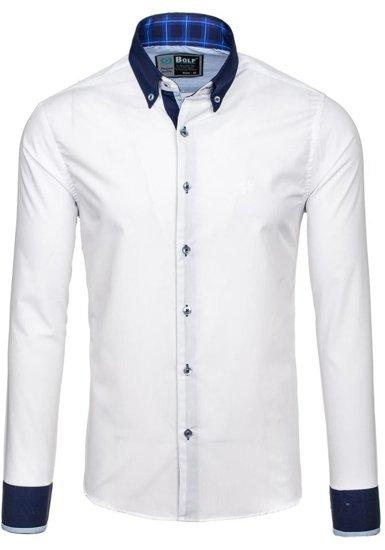 Koszula męska elegancka z długim rękawem biało-granatowa Bolf 5766