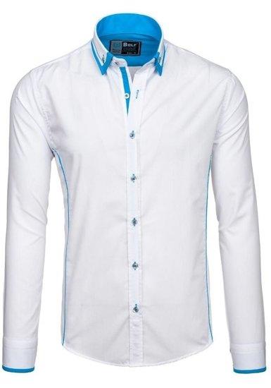 Koszula męska elegancka z długim rękawem biało-niebieska Bolf 4720
