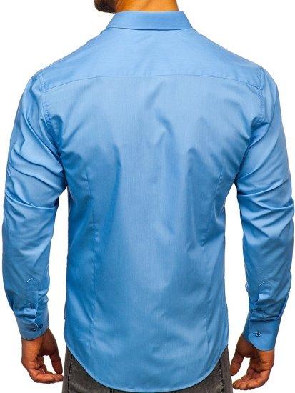 Koszula męska elegancka z długim rękawem błękitna Bolf 1703-2