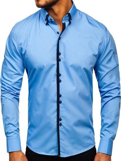 Koszula męska elegancka z długim rękawem błękitna Bolf 1721-1