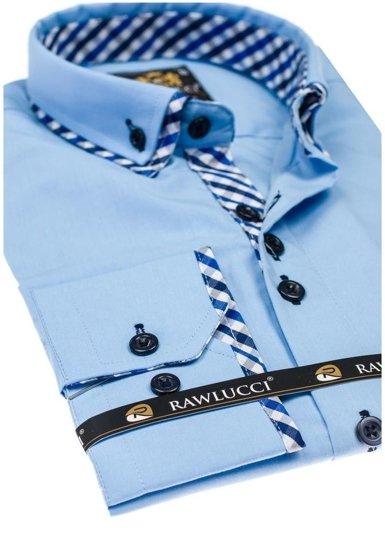Koszula męska elegancka z długim rękawem błękitna Denley 776