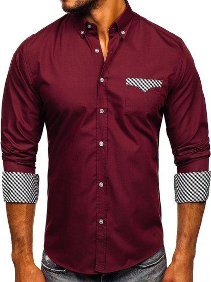 Koszula męska elegancka z długim rękawem bordowa Bolf 4711