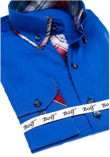 Koszula męska elegancka z długim rękawem chabrowa Bolf 4704