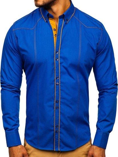 Koszula męska elegancka z długim rękawem chabrowa Bolf 4777