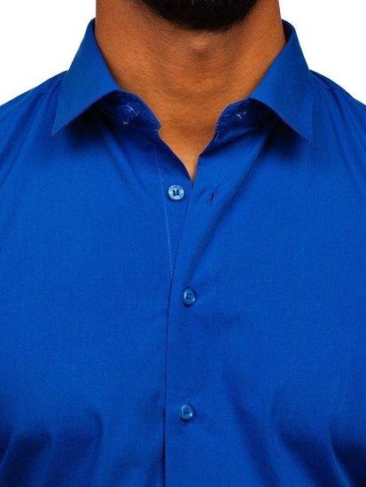 Koszula męska elegancka z długim rękawem chabrowa Denley 0001
