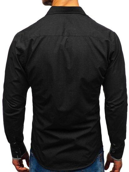 Koszula męska elegancka z długim rękawem czarna Bolf 0939