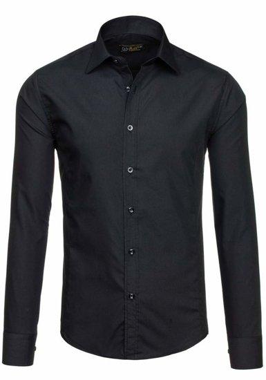 Koszula męska elegancka z długim rękawem czarna Bolf 1703-2