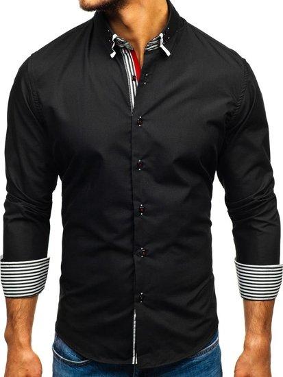 Koszula męska elegancka z długim rękawem czarna Bolf 1747