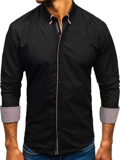 Koszula męska elegancka z długim rękawem czarna Bolf 2701-1