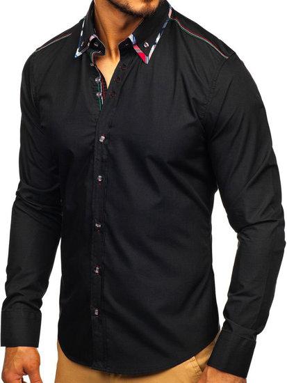 Koszula męska elegancka z długim rękawem czarna Bolf 3701