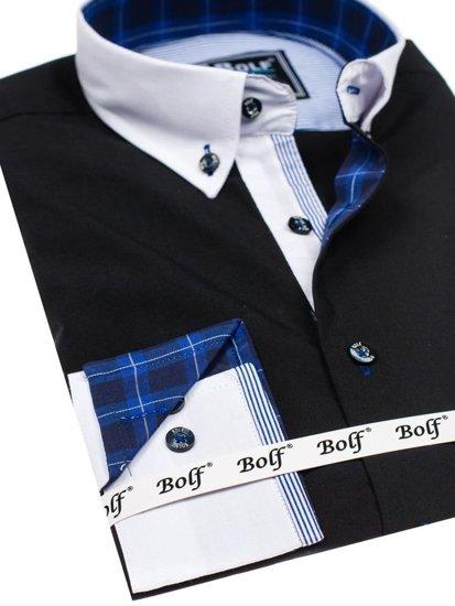 Koszula męska elegancka z długim rękawem czarna Bolf 5766-1