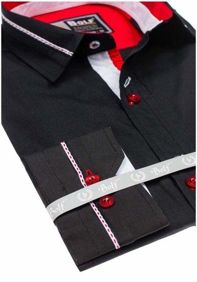 Koszula męska elegancka z długim rękawem czarna Bolf 5826