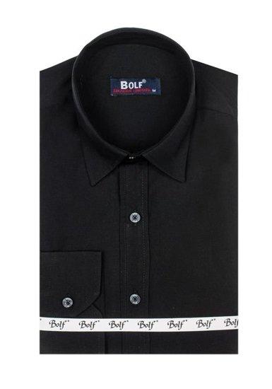 Koszula męska elegancka z długim rękawem czarna Bolf 6928