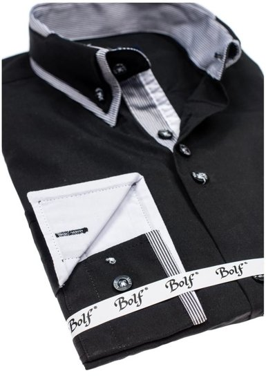 Koszula męska elegancka z długim rękawem czarna Bolf 6929