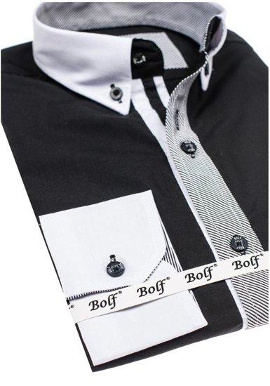 Koszula męska elegancka z długim rękawem czarna Bolf 6946