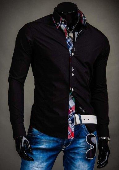 Koszula męska elegancka z długim rękawem czarna Denley 2712