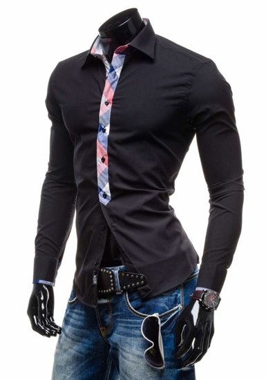 Koszula męska elegancka z długim rękawem czarna Denley 4770