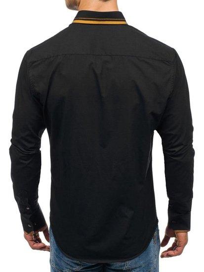 Koszula męska elegancka z długim rękawem czarno-camelowa Bolf 4720
