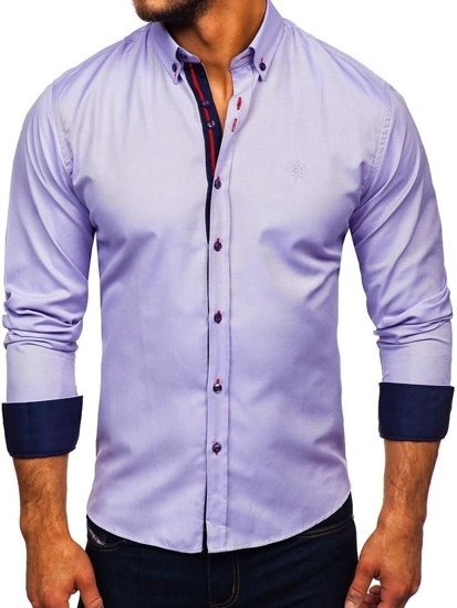Koszula męska elegancka z długim rękawem fioletowa Bolf 5801-A