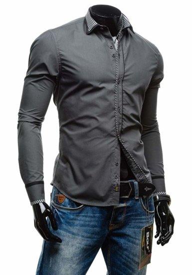 Koszula męska elegancka z długim rękawem grafitowa Bolf 4774