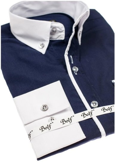 Koszula męska elegancka z długim rękawem granatowa Bolf 5726