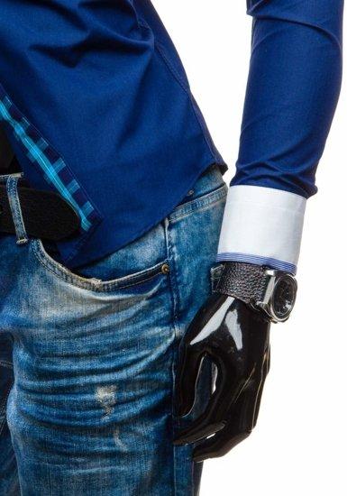 Koszula męska elegancka z długim rękawem granatowa Bolf 5766