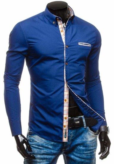 Koszula męska elegancka z długim rękawem granatowa Bolf 5793