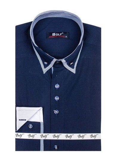 Koszula męska elegancka z długim rękawem granatowa Bolf 6929-A