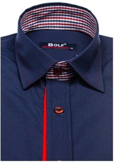Koszula męska elegancka z długim rękawem granatowa Bolf 6932
