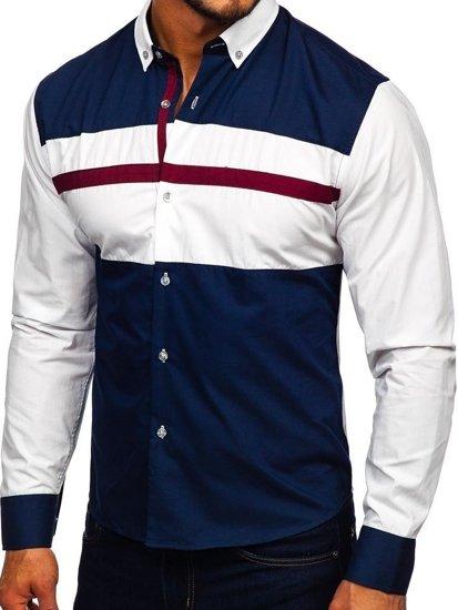 Koszula męska elegancka z długim rękawem granatowa Bolf 9706