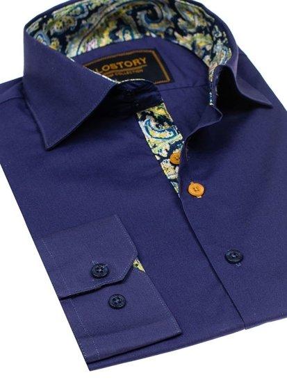 Koszula męska elegancka z długim rękawem granatowa Denley 9983