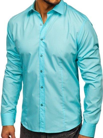 Koszula męska elegancka z długim rękawem jasnozielona Bolf 1703