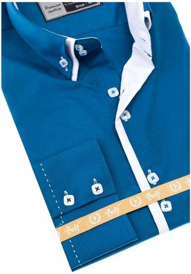 Koszula męska elegancka z długim rękawem morska Bolf 1721-A