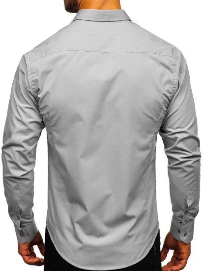 Koszula męska elegancka z długim rękawem szara Bolf 1703